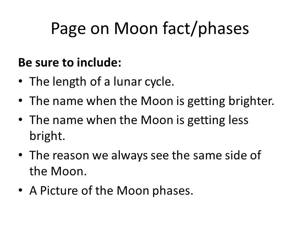 Page on Moon fact/phases
