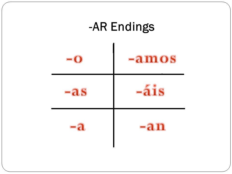 -AR Endings -o -amos -as -áis -a -an