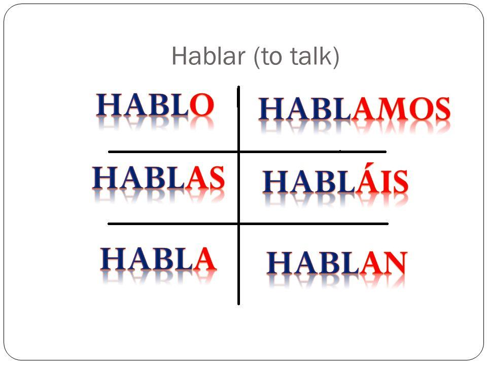 hablo hablamos hablas habláis habla hablan