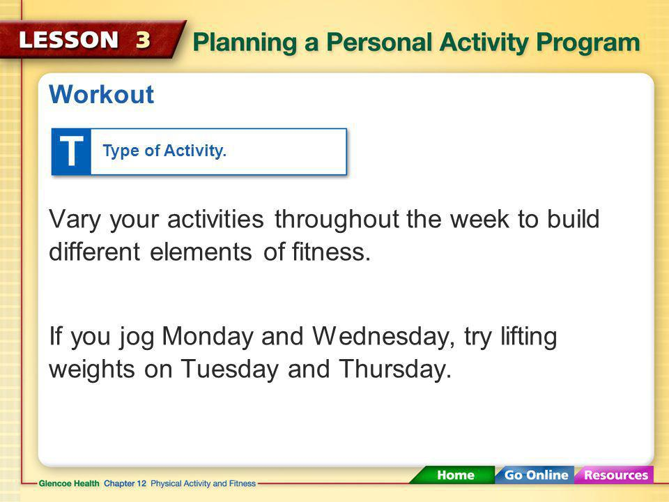 Workout T. Type of Activity. Vary your activities throughout the week to build different elements of fitness.