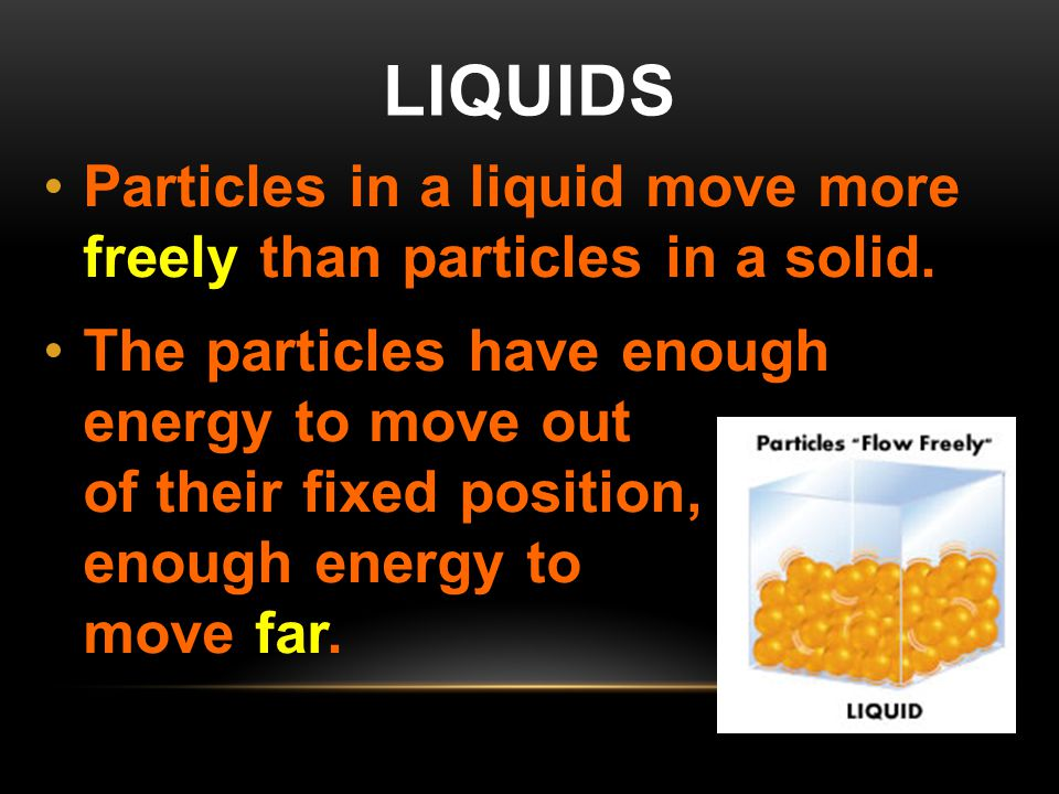 Liquids Particles in a liquid move more freely than particles in a solid.