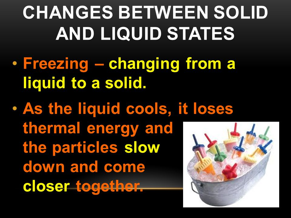 Changes between solid and liquid States