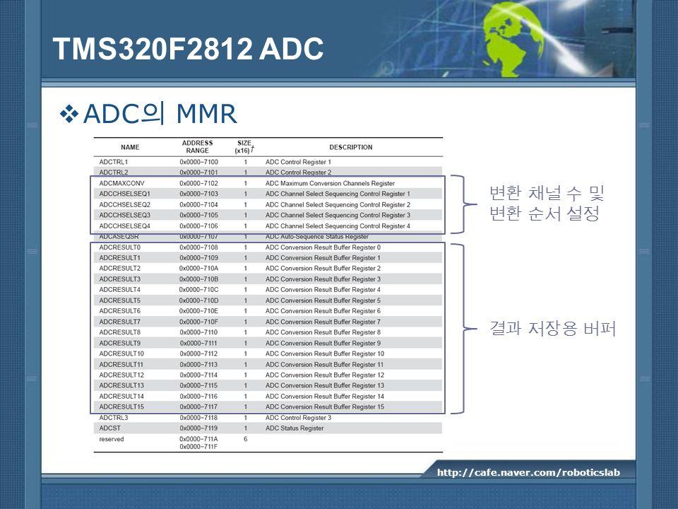 TMS320F2812 ADC ADC의 MMR 변환 채널 수 및 변환 순서 설정 결과 저장용 버퍼