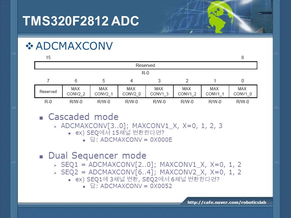 TMS320F2812 ADC ADCMAXCONV Cascaded mode Dual Sequencer mode