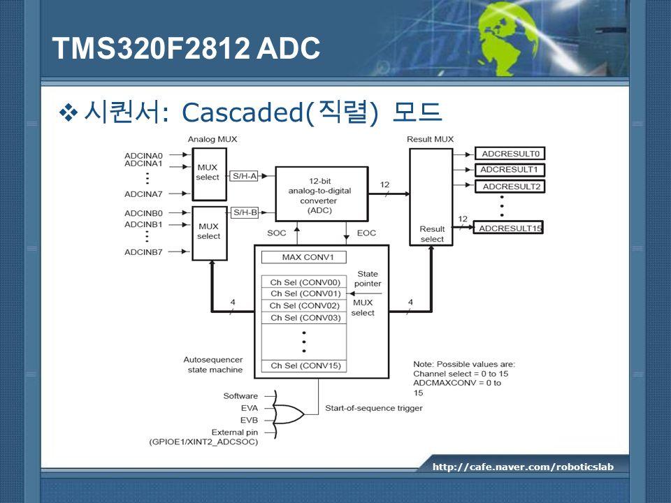 TMS320F2812 ADC 시퀀서: Cascaded(직렬) 모드 http://cafe.naver.com/roboticslab