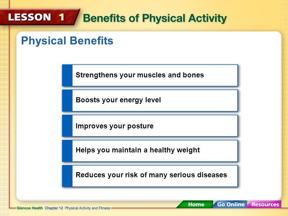 Physical Benefits Strengthens your muscles and bones