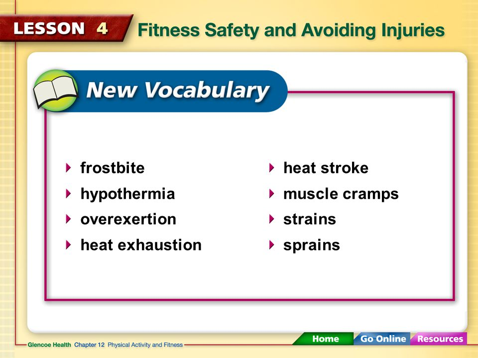 frostbite hypothermia overexertion heat exhaustion heat stroke muscle cramps strains sprains