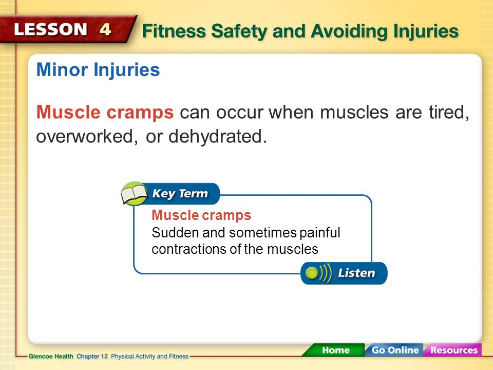 Minor Injuries Muscle cramps can occur when muscles are tired, overworked, or dehydrated. Muscle cramps.