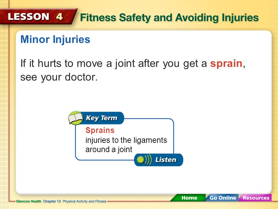 If it hurts to move a joint after you get a sprain, see your doctor.
