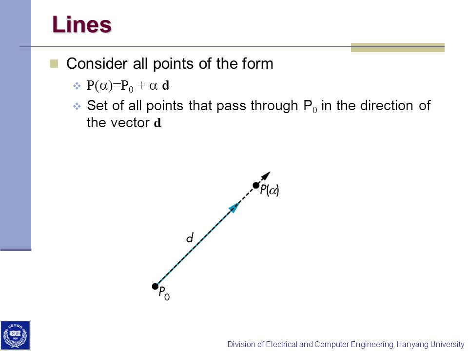 Lines Consider all points of the form P(a)=P0 + a d