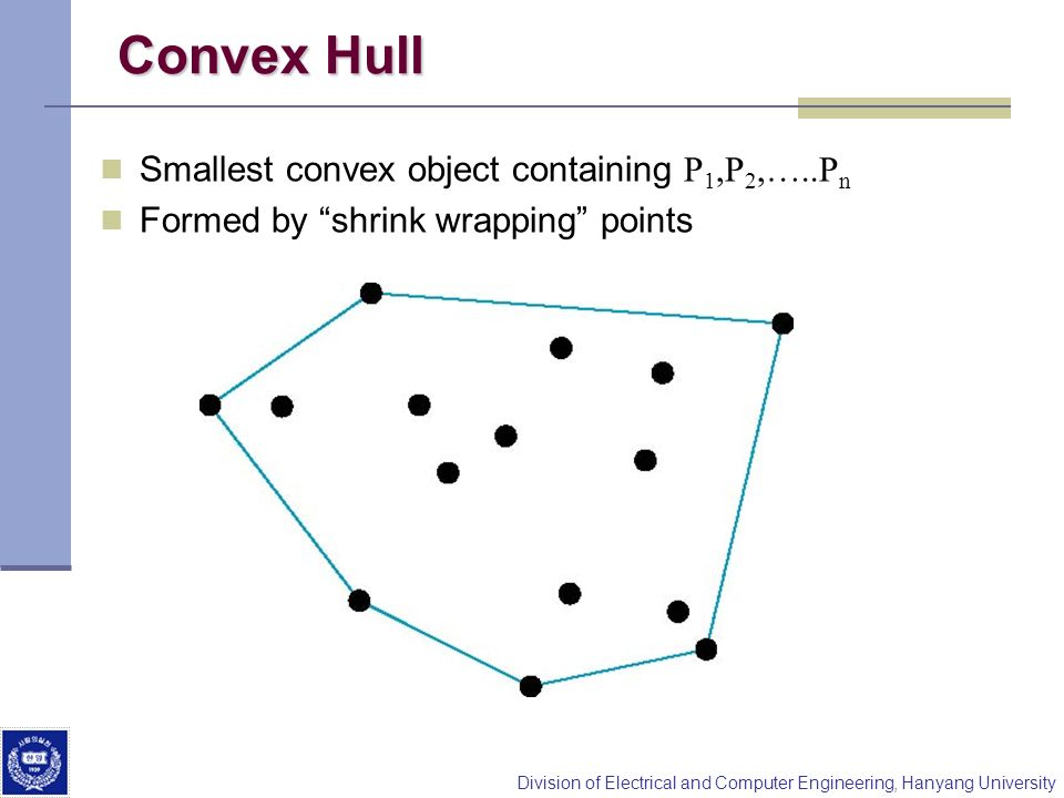 Convex Hull Smallest convex object containing P1,P2,…..Pn
