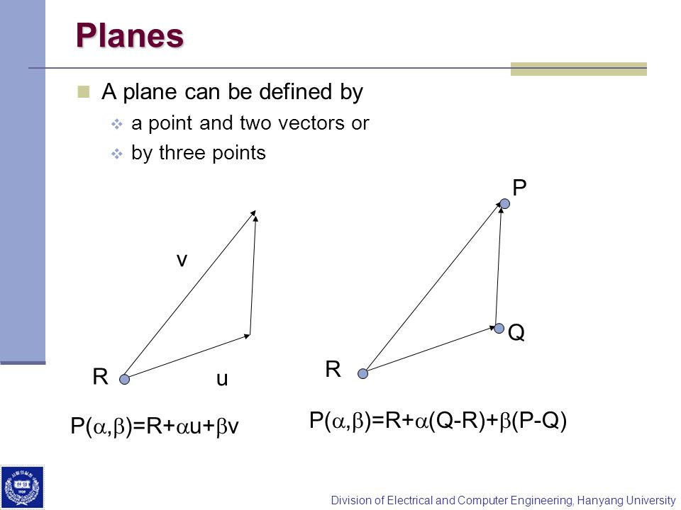 Planes A plane can be defined by P v Q R R u P(a,b)=R+a(Q-R)+b(P-Q)