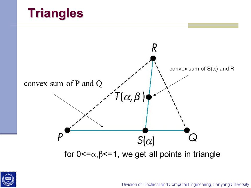 Triangles convex sum of P and Q