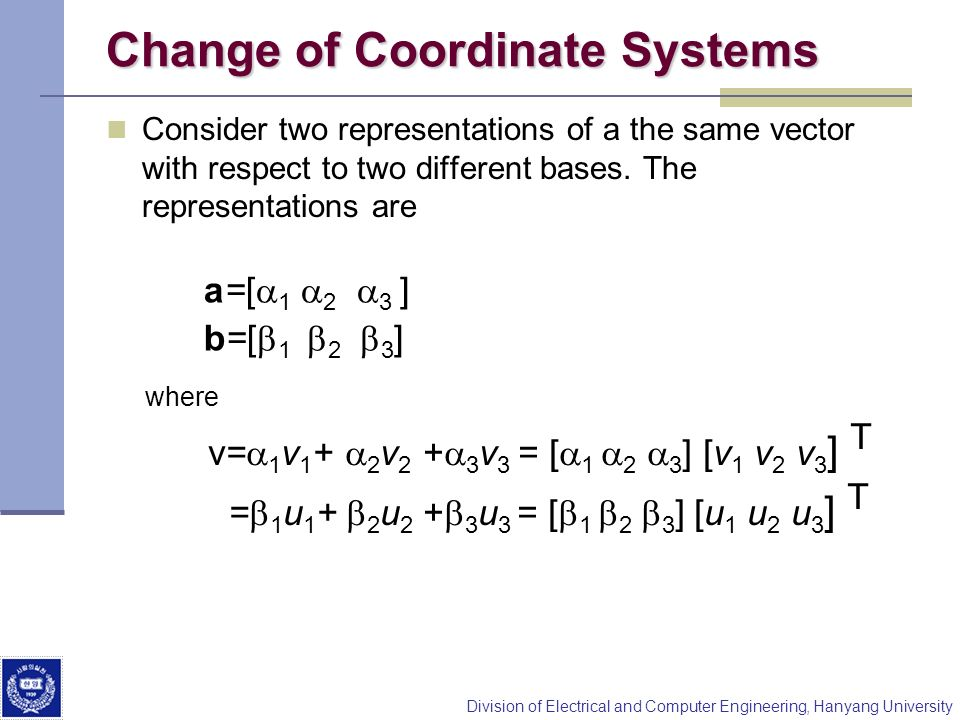 Change of Coordinate Systems