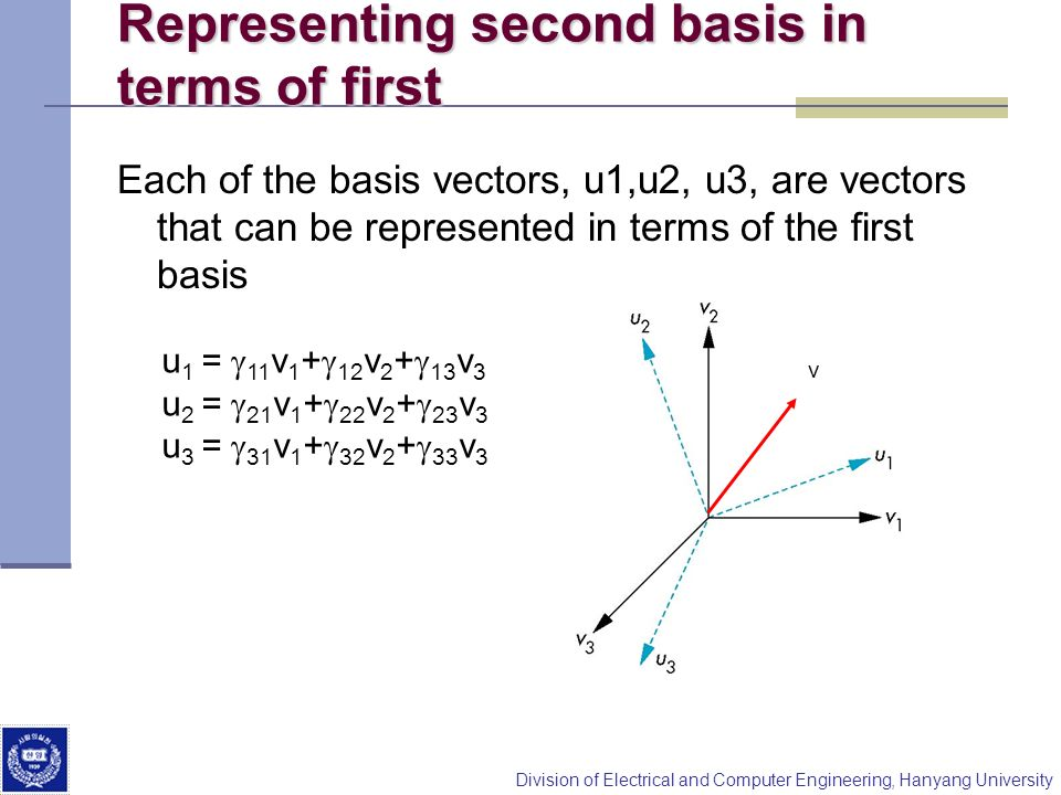 Representing second basis in terms of first