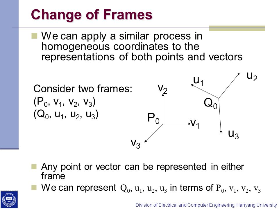 Change of Frames u2 u1 v2 Q0 P0 v1 u3 v3