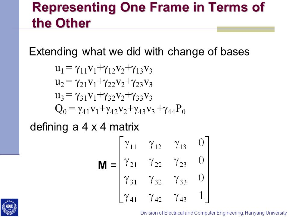 Representing One Frame in Terms of the Other