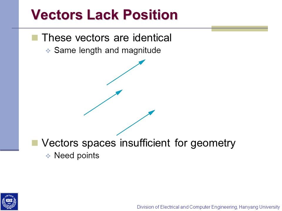 Vectors Lack Position These vectors are identical