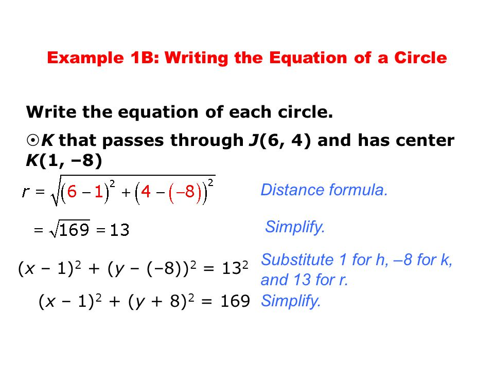 Example 1B: Writing the Equation of a Circle