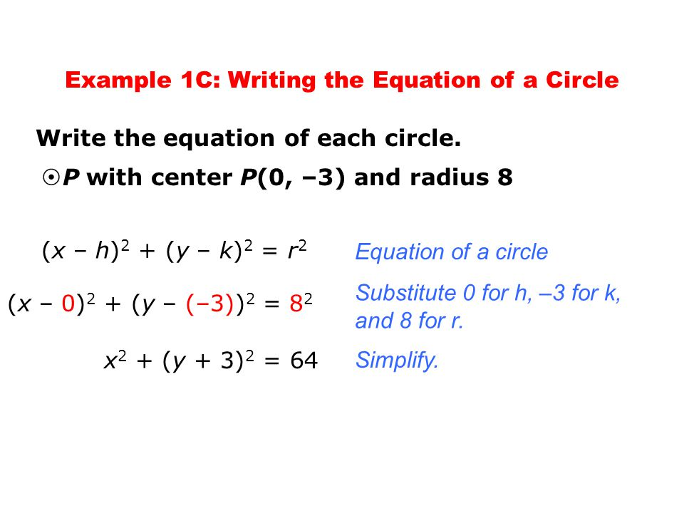 writing a circle equation in standard