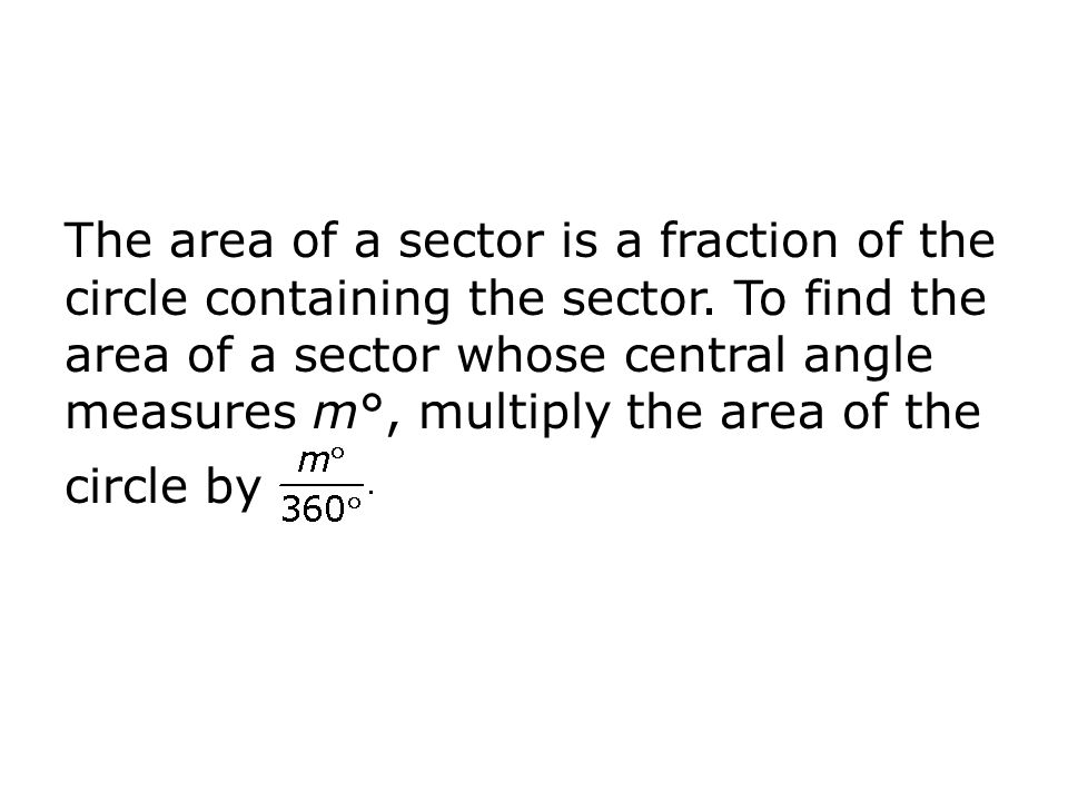 The area of a sector is a fraction of the circle containing the sector