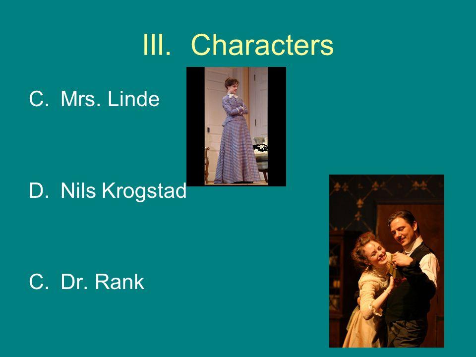 III. Characters Mrs. Linde Nils Krogstad Dr. Rank