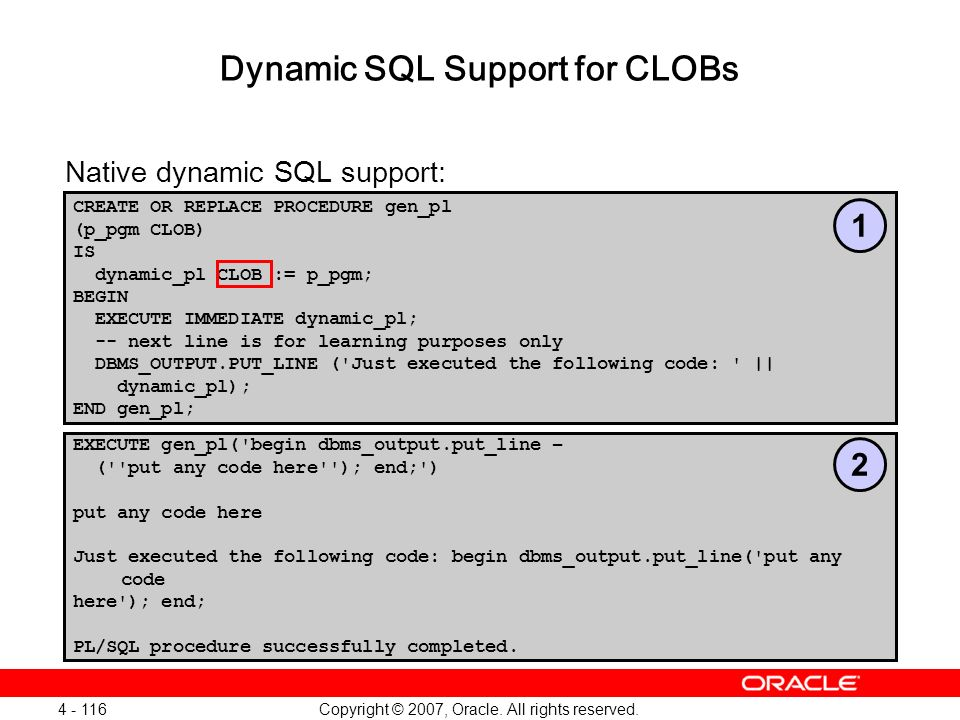 Dynamic SQL Support for CLOBs