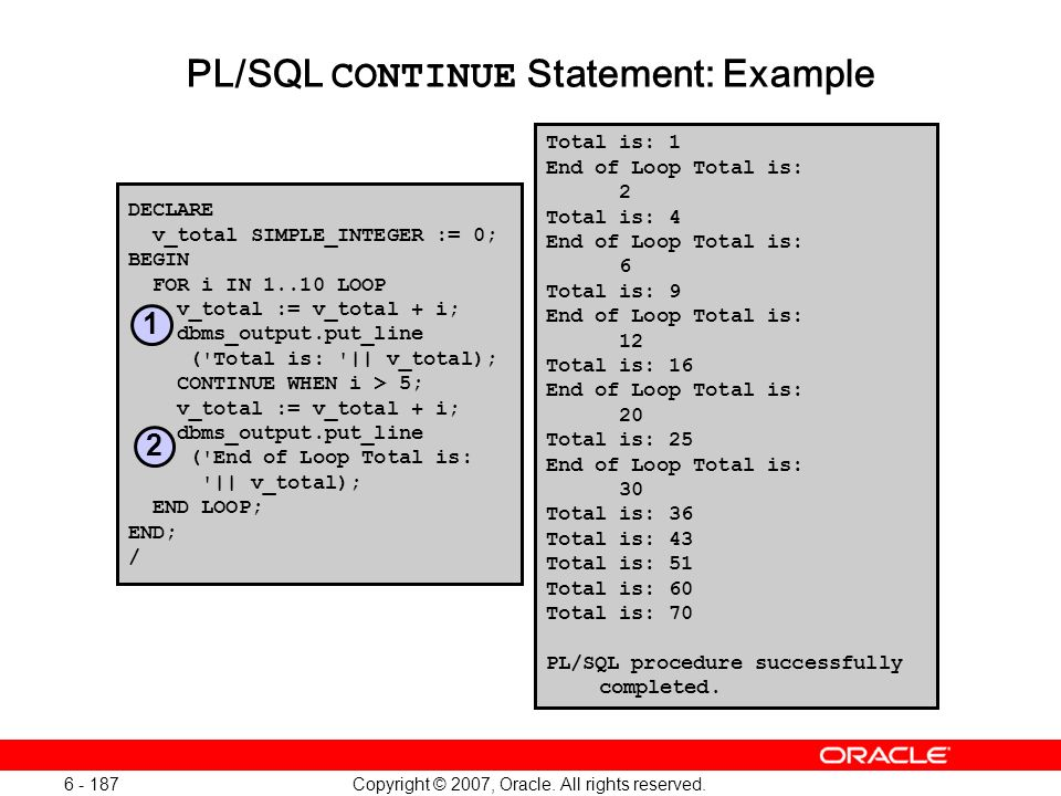 PL/SQL CONTINUE Statement: Example