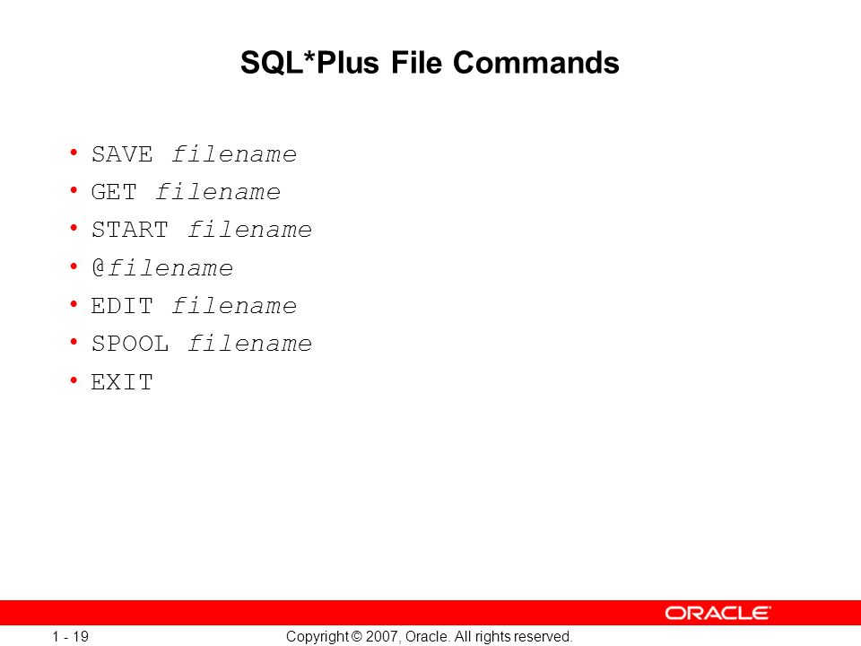 SQL*Plus File Commands