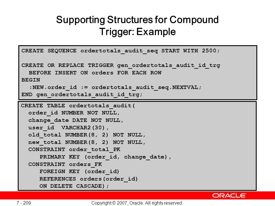Supporting Structures for Compound Trigger: Example