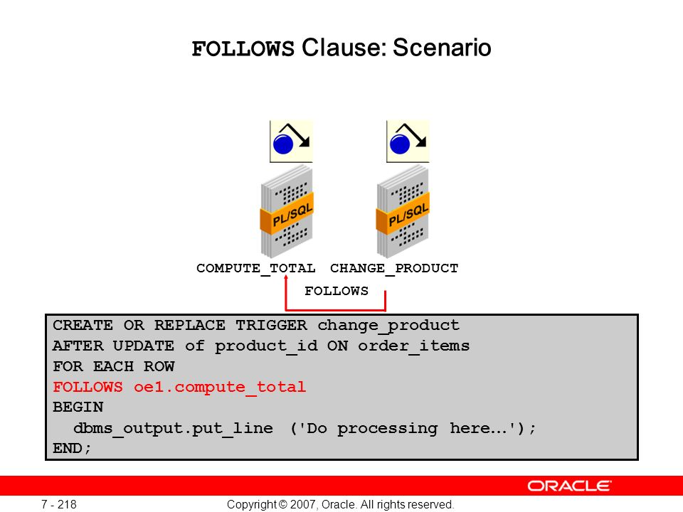 FOLLOWS Clause: Scenario