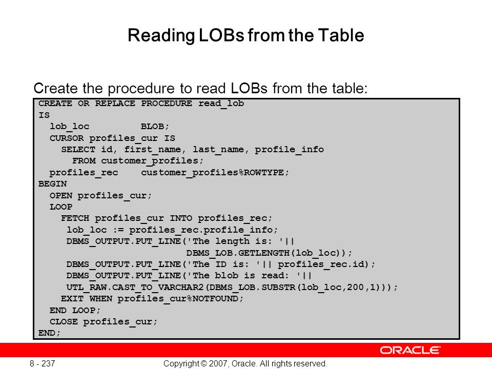 Reading LOBs from the Table