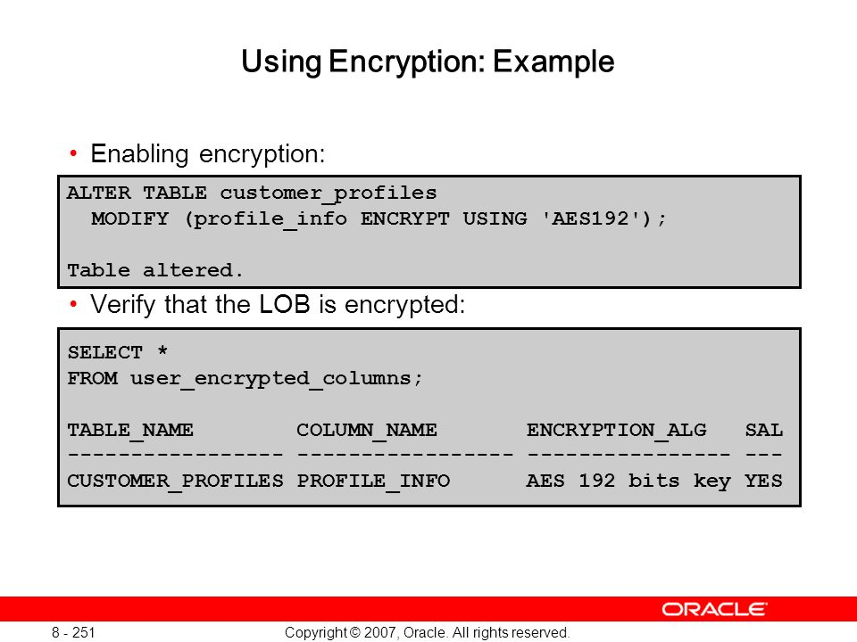 Using Encryption: Example
