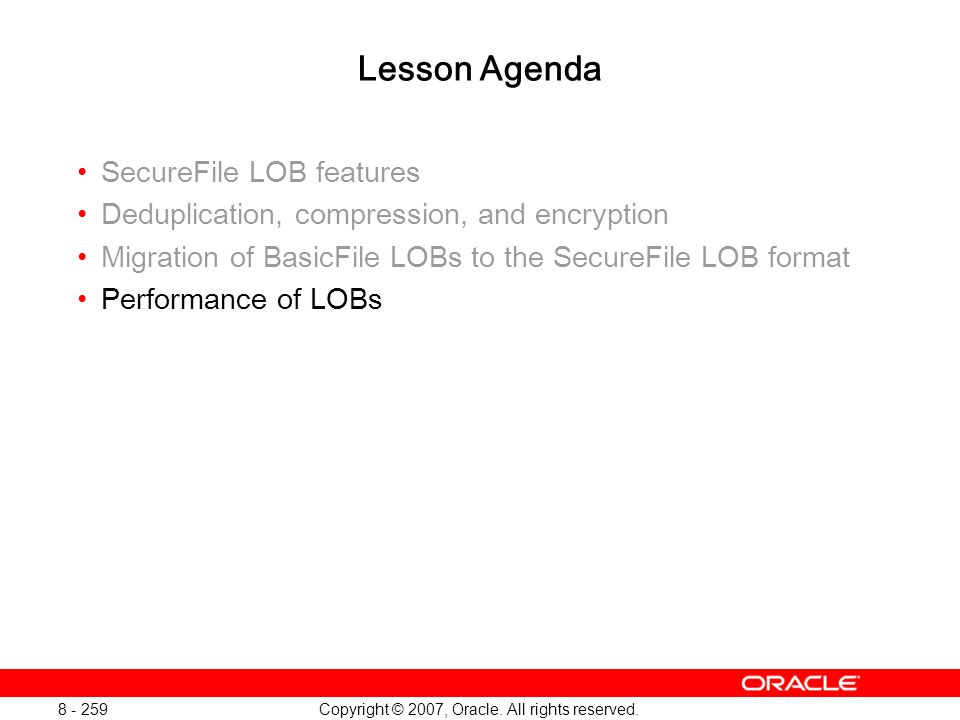 Oracle Database 11g: SQL and PL/SQL New Features 1 - 259