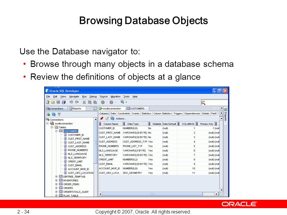 Browsing Database Objects