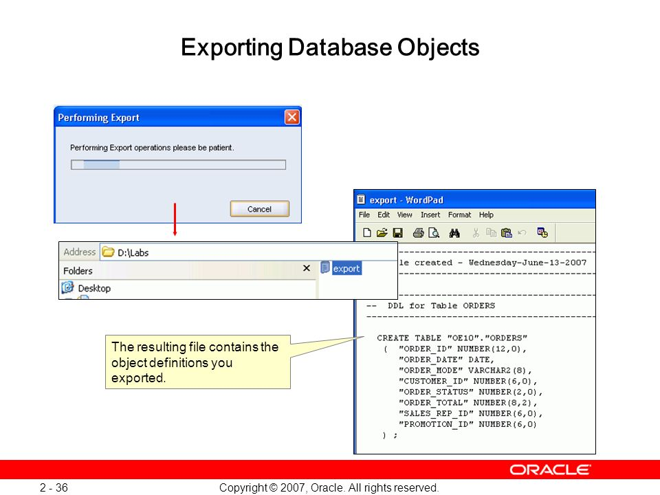 Exporting Database Objects