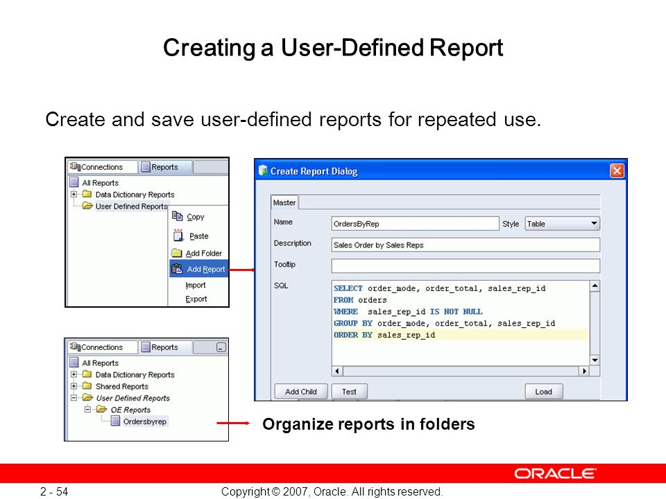 Creating a User-Defined Report