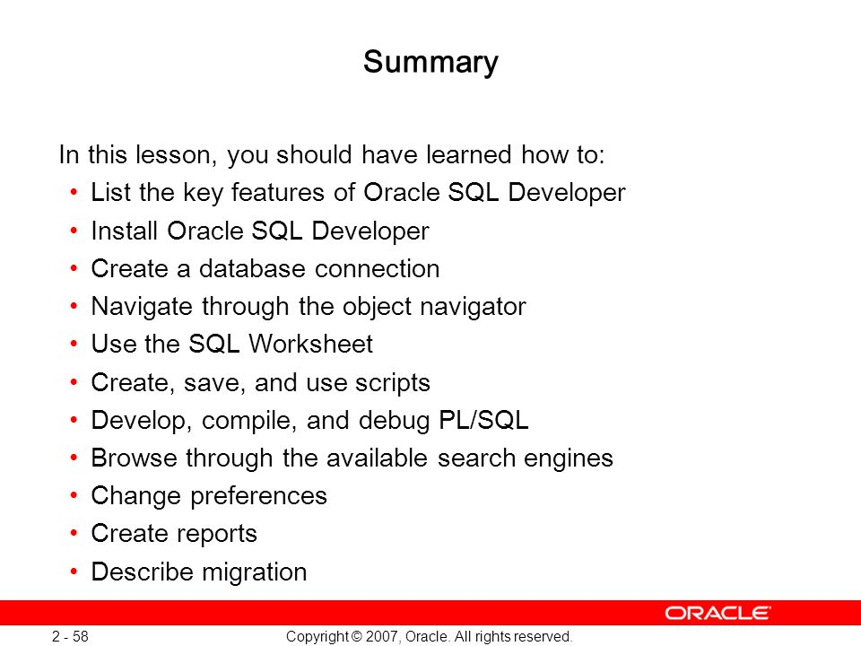 Oracle Database 11g: SQL and PL/SQL New Features 1 - 58