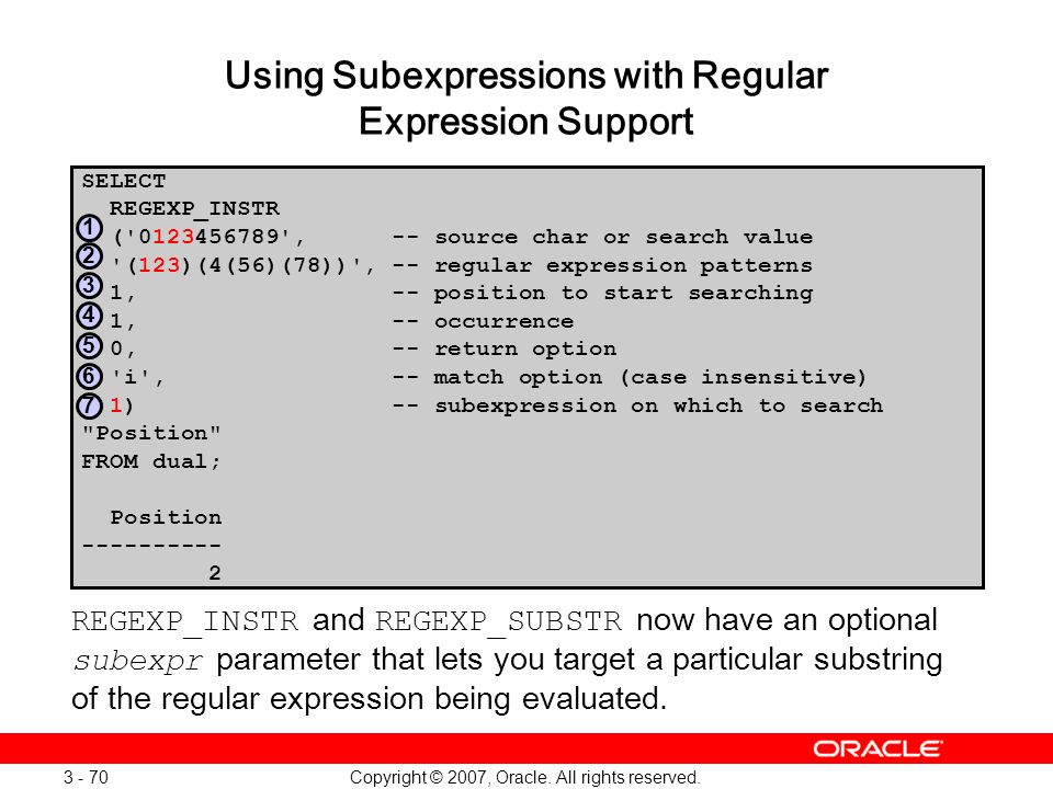 Using Subexpressions with Regular Expression Support