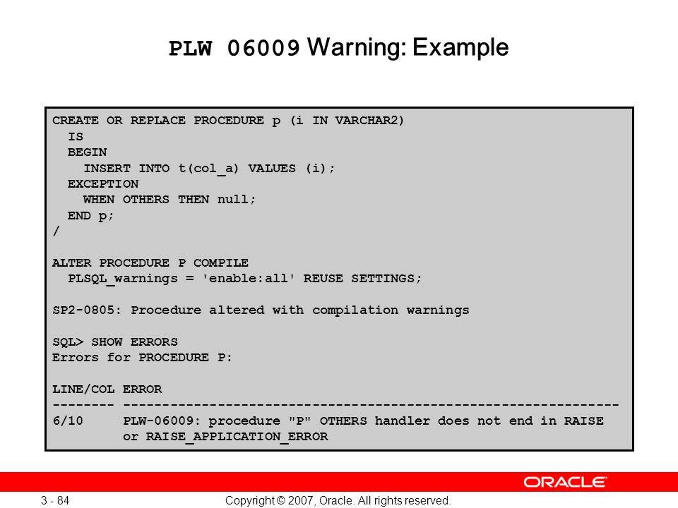 Oracle Database 11g: SQL and PL/SQL New Features 1 - 84