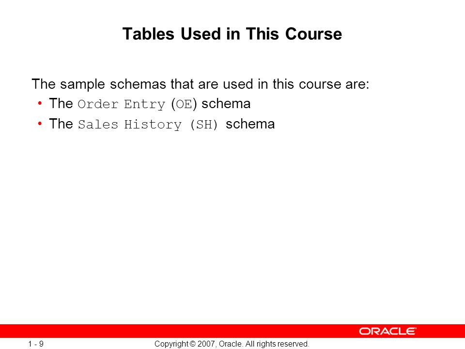 Tables Used in This Course