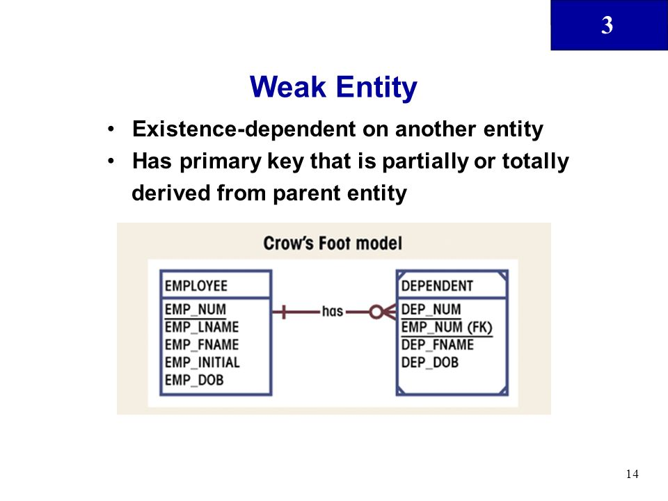 Weak Entity Existence-dependent on another entity