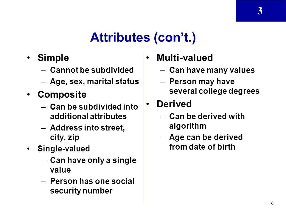 Attributes (con't.) Simple Composite Multi-valued Derived