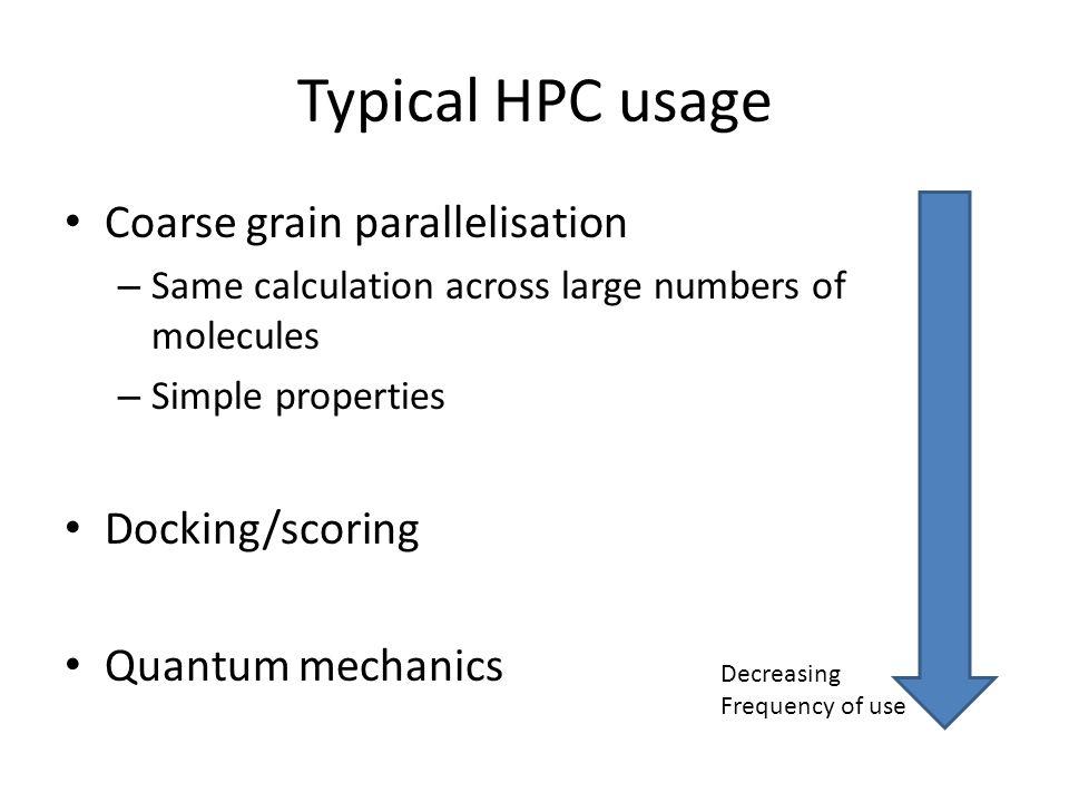 Typical HPC usage Coarse grain parallelisation Docking/scoring
