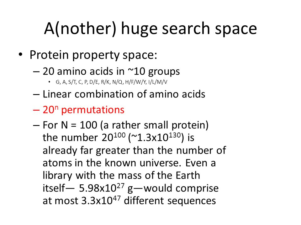 A(nother) huge search space