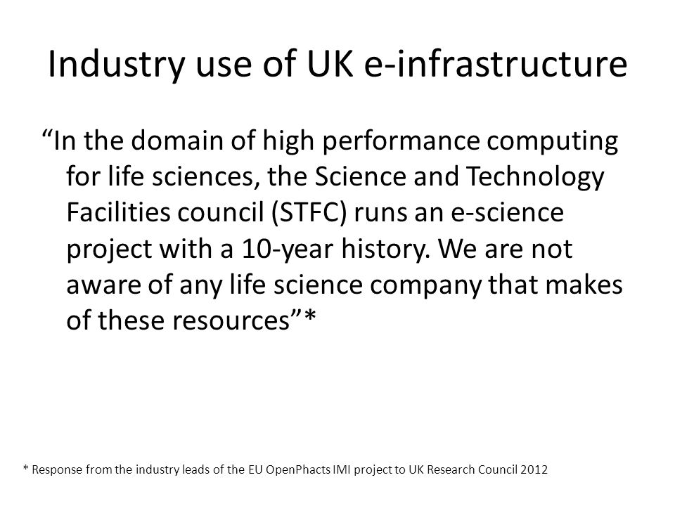 Industry use of UK e-infrastructure