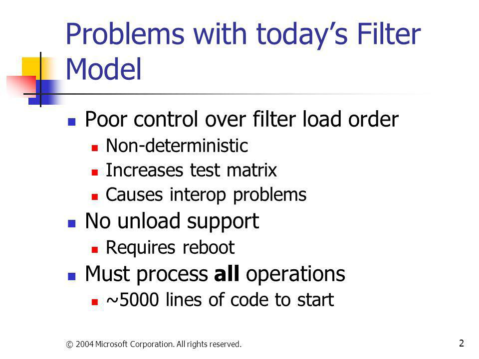 Problems with today's Filter Model