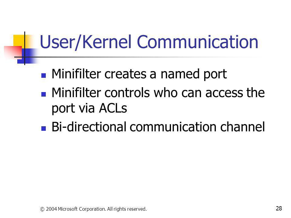 User/Kernel Communication