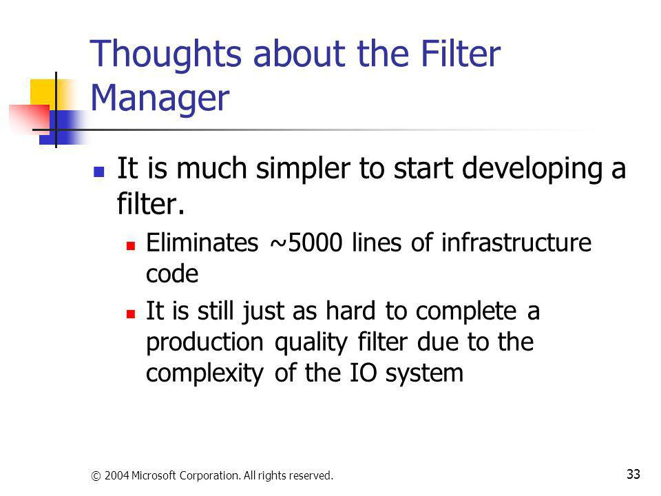Thoughts about the Filter Manager