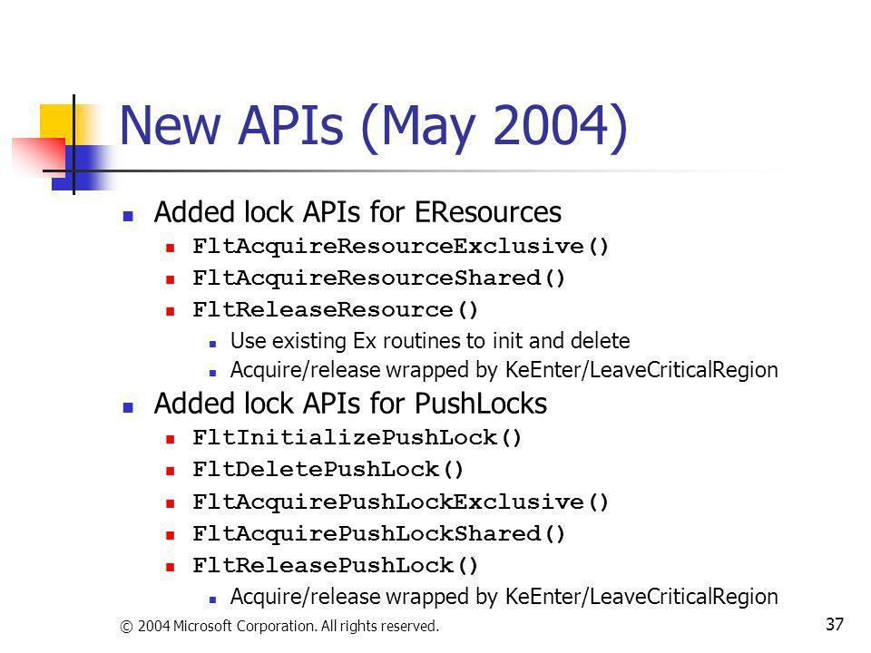 New APIs (May 2004) Added lock APIs for EResources